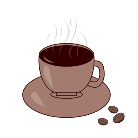 Coffee cup with steam and coffee beans, vector flat icon Illustration