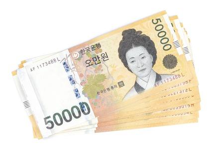Zuid-Korea won valuta in 50 000 gewonnen waarde, bespaar geld concept, geïsoleerd Stockfoto