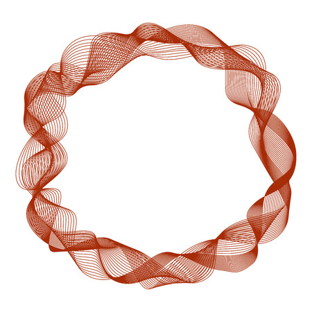 Abstract round frame with motion waves, curve red lines, vector illustration.