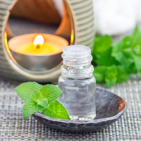 Peppermint essential oil in bottle on gray mat with spa background, square format Stock Photo