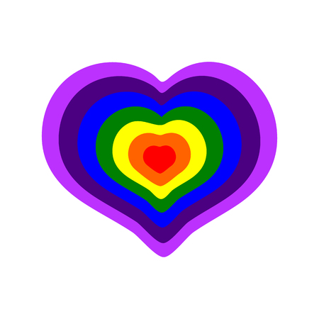 Rainbow colored heart on a white background, vector illustration Stock Photo