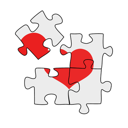 Four puzzle pieces with a heart on it, broken heart, vector illustration on a white background