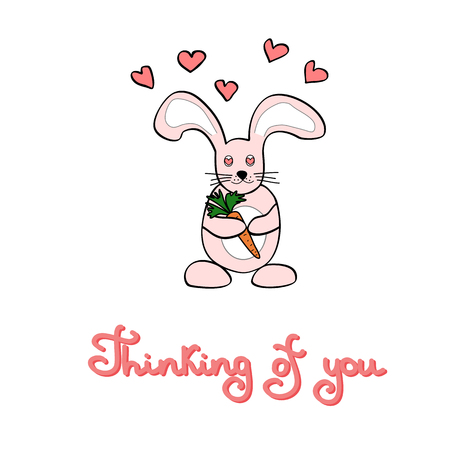 Cute cartoon rabbit holds a carrot in hands, hearts and lettering quote on background. Valentines day greeting card on a white