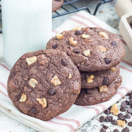 Homemade chocolate cookies with walnuts and chocolate chips on the table, served with milk, square