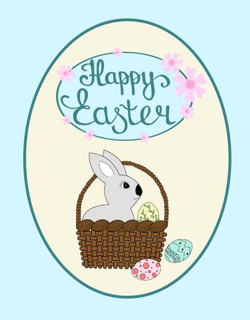 Kaninchen sitzt im Korb, bunte Eier auf Hintergrund, glückliche Ostern-Beschriftung. Ostern-Grußkarte oder Einladung, Vektorillustration