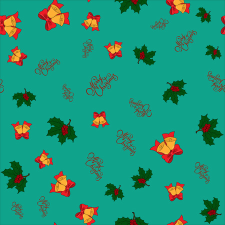 Christmas seamless pattern with jingle bells, holly leaves and merry christmas lettering on green background, raster illustration Stock Photo
