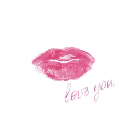 Pink lips with love you lettering on a white background, raster illustration Imagens