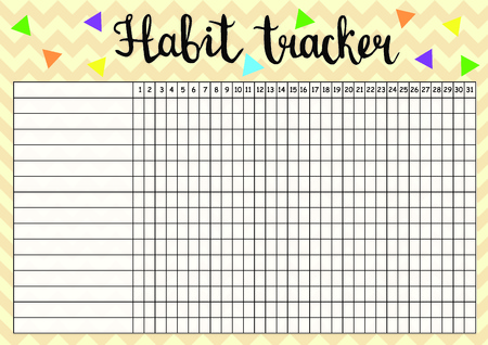 Habit tracker empty blank, monthly planner template in yellow colors, raster illustration