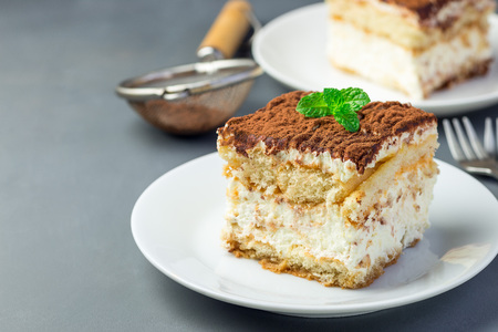 Two piece of traditional italian Tiramisu dessert cake on a white plate, decorated with cocoa powder and mint, on a gray background, horizontal, copy space