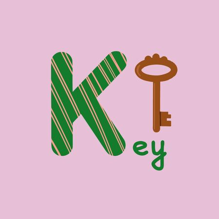 English alphabet for children education, letter K uppercase with word. Cute kids colorful ABC alphabet in cartoon style, flashcard for learning English vocabulary, raster illustration Banco de Imagens