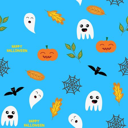 Seamless halloween background with ghosts, pumpkin,  spider web and autumn leaves, in blue, vector illustration Ilustracja