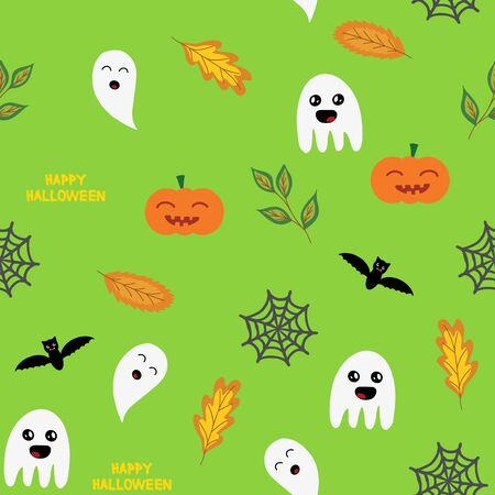 Seamless halloween background with ghosts, pumpkin,  spider web and autumn leaves, in green, vector illustration Ilustracja