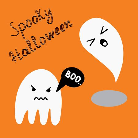 Halloween illustration with two ghosts and spooky halloween lettering,  vector Illustration