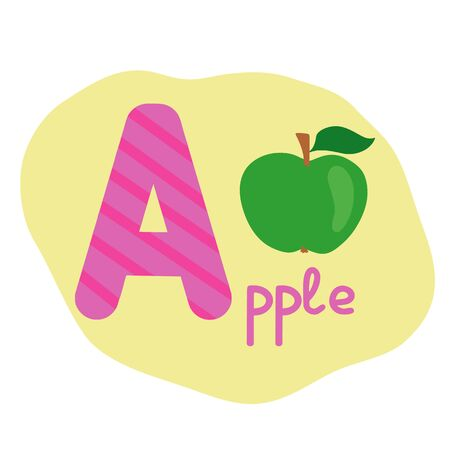 English alphabet for children, letter A uppercase with word. Cute kids colorful ABC alphabet in cartoon style, flashcard for learning English vocabulary, raster illustration