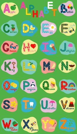 English alphabet for children, whole alphabet with words in uppercase. Cute kids colorful ABC alphabet in cartoon style, flashcard for learning English vocabulary, raster illustration