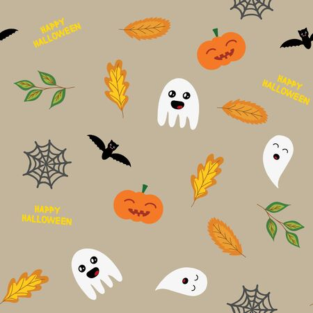 Seamless halloween background with ghosts, pumpkin,  spider web and autumn leaves, in light brown, raster illustration