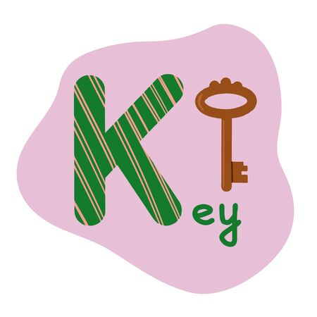 English alphabet for children, letter K uppercase with word. Cute kids colorful ABC alphabet in cartoon style, flashcard for learning English vocabulary, raster illustration Фото со стока