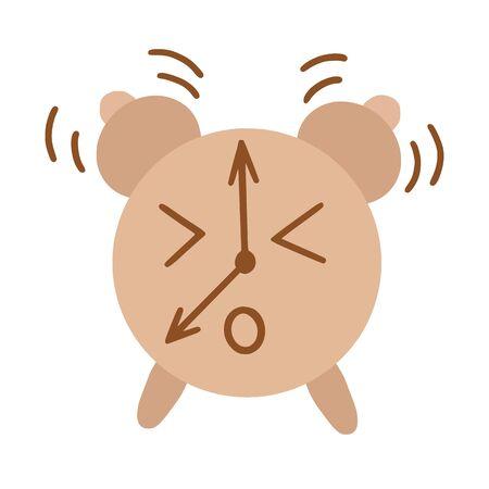 Kawaii style alarm clock, raster illustration