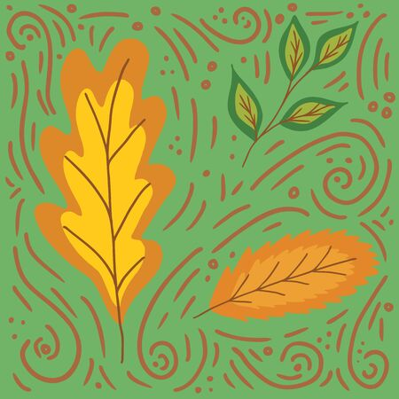Autumn yellow and brown leaves in doodle style on a green background, raster illustration