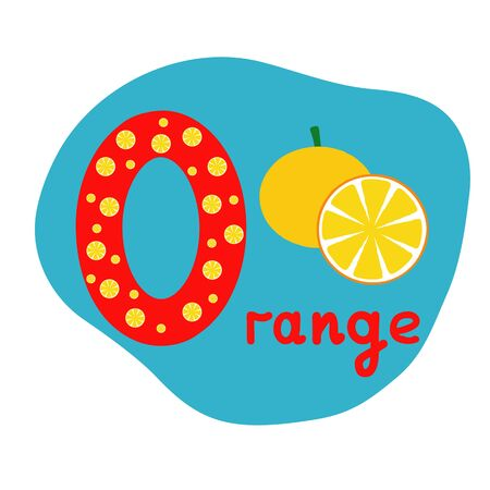 English alphabet for children, letter O uppercase with word. Cute kids colorful ABC alphabet in cartoon style, flashcard for learning English vocabulary, raster illustration
