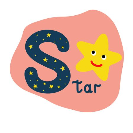 English alphabet for children, letter S uppercase with word. Cute kids colorful ABC alphabet in cartoon style, flashcard for learning English vocabulary, raster illustration