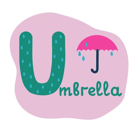 English alphabet for children, letter U uppercase with word. Cute kids colorful ABC alphabet in cartoon style, flashcard for learning English vocabulary, raster illustration Foto de archivo - 130113431