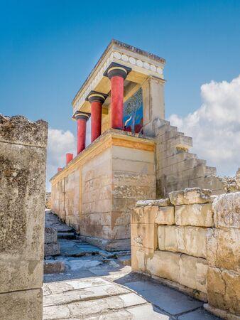 Knossos palace ruins at Crete island, Greece. Famous Minoan palace of Knossos, vertical, closeup Stock Photo