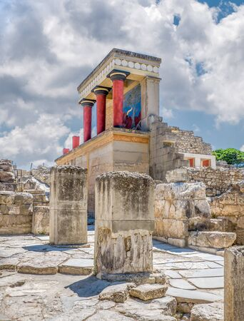 Knossos palace ruins at Crete island, Greece. Famous Minoan palace of Knossos, vertical