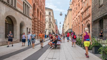 People walking on the shopping street in the center of Stockholm, Sweden, 2 August 2018 Redakční