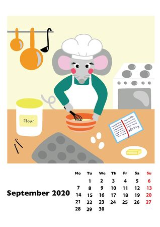 Children calendar 2020 for September, with main hero rat or mouse, a symbol of the new year. The week starts on Monday. Cartoon style digital drawing, vector illustration
