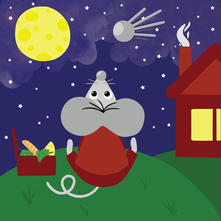 Symbol of the new year 2020, rat or mouse, has picnic outdoors at night and staring on sky with moon and stars. Cartoon style digital drawing for calendar 2020, raster  illustration Stock Photo
