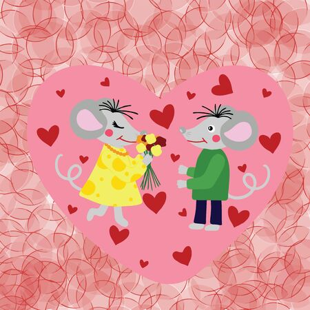 Two rats or mouses in love, mouse man give flowers mouse lady, hearts on background. Cartoon style digital drawing for calendar 2020, symbol of the new year, raster illustration