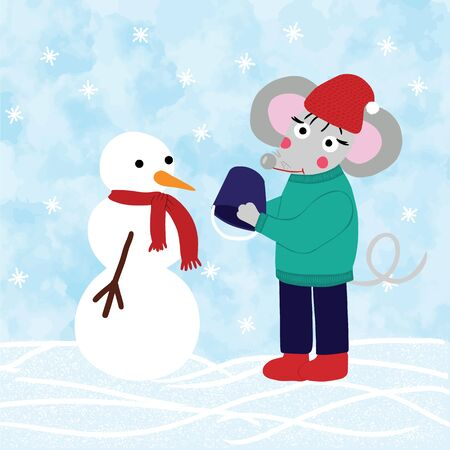 Rat or mouse makes snowman outdoors, snowdrifts and falling snow on background. Cartoon style digital drawing for calendar 2020, symbol of new year, raster illustration