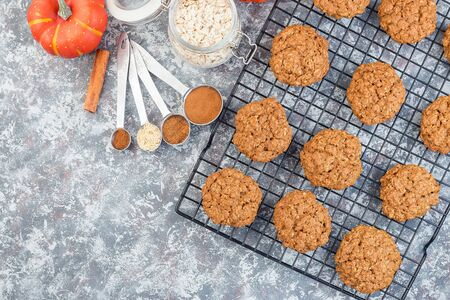 Spicy pumpkin and oatmeal cookies on a cooling rack, horizontal, top view, copy space