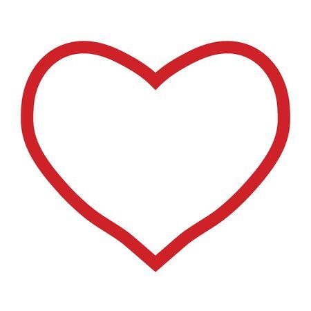 Contour de coeur rouge sur fond blanc, Saint Valentin, illustration vectorielle Vecteurs