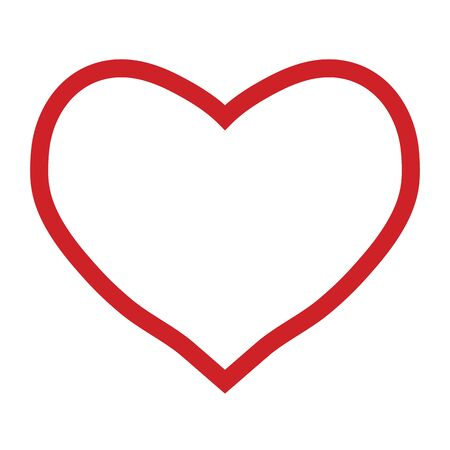 Red heart outline on a white background, valentines day, vector illustration Vector Illustratie