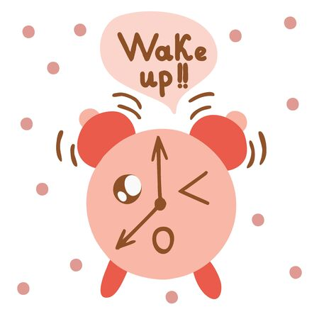 Kawaii style alarm clock is ringing and says Wake up, background in dots, raster illustration 写真素材