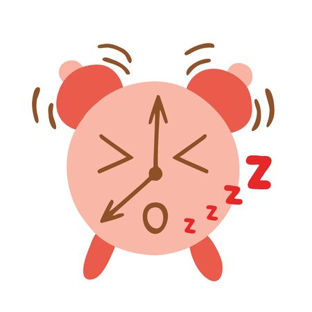 Kawaii style alarm clock is ringing and says Zzz, raster illustration