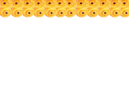 Traditional Swedish and scandinavian Christmas saffron buns Lussekatter isolated on a white background, in a row, copy space, horizontal