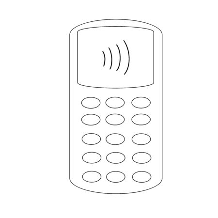 Pos terminal or card reader, contactless payment concept, black outline, raster illustration