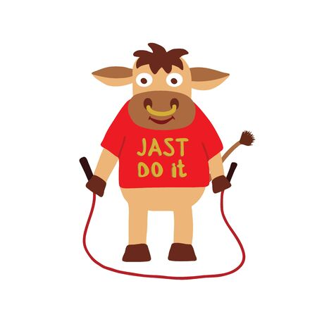 Bull doing a workout with jumping rope,  lettering just do it on t-shirt, symbol 2021 year, vector illustration isolated on a white Vettoriali