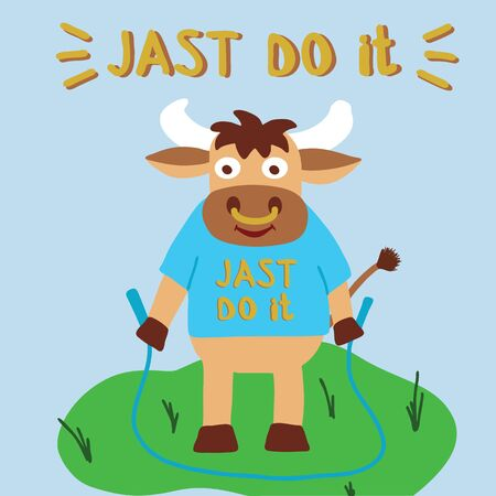 Bull doing a workout with jumping rope outdoors,  lettering just do it, symbol 2021 year, vector illustration