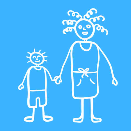 Silhouette of mama and son walking together outdoors, smiling and holding hands,  raster illustration