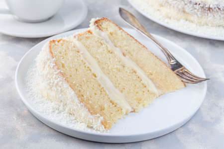Piece of homemade coconut cake with cream cheese frosting and coconut flakes decoration, on a white plate, horizontal