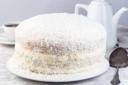 Homemade coconut cake with cream cheese frosting and coconut flakes decoration, on a white plate, horizontal 免版税图像
