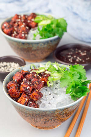 Grilled tofu in spicy sweet sauce with sweet potato vermicelli noodles, garnished with cilantro, green onion and sesame, in a bowl, vertical 免版税图像