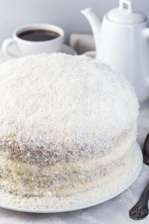 Homemade coconut cake with cream cheese frosting and coconut flakes decoration, on a white plate, vertical 免版税图像