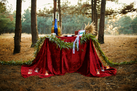 Wedding decoration in forest. Rustic wedding ceremony in forest. Vintage decoration in forest. 免版税图像 - 67518782