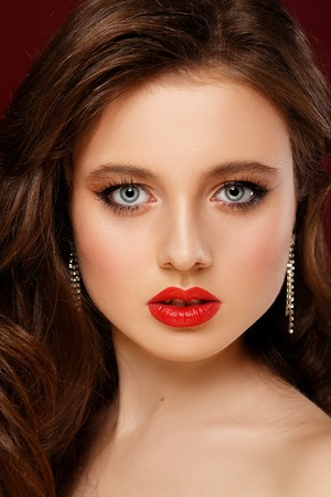 Beauty portrait girl with full red lips