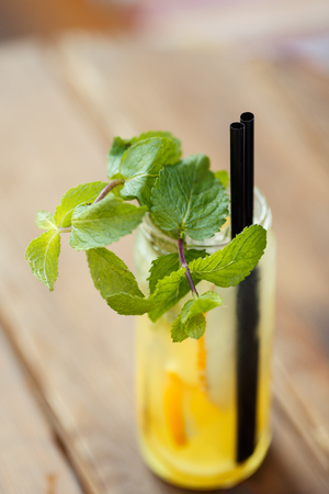 non-alcoholic cocktail with melon and a mint